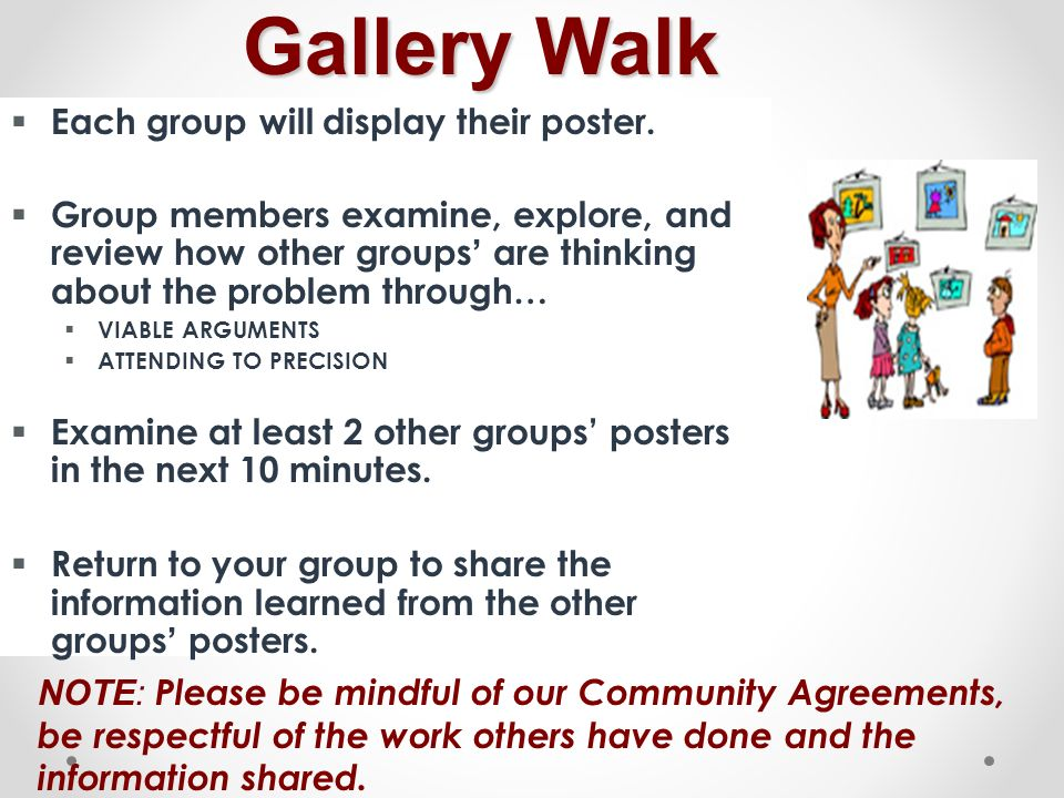 Gallery Walk Gallery Walk Each group will display their poster. Group members examine, explore, and review how other groups are thinking about the pro