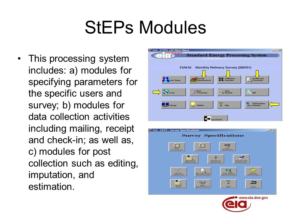 StEPs Modules This processing system includes: a) modules for specifying parameters for the specific users and survey; b) modules for data collection activities including mailing, receipt and check-in; as well as, c) modules for post collection such as editing, imputation, and estimation.