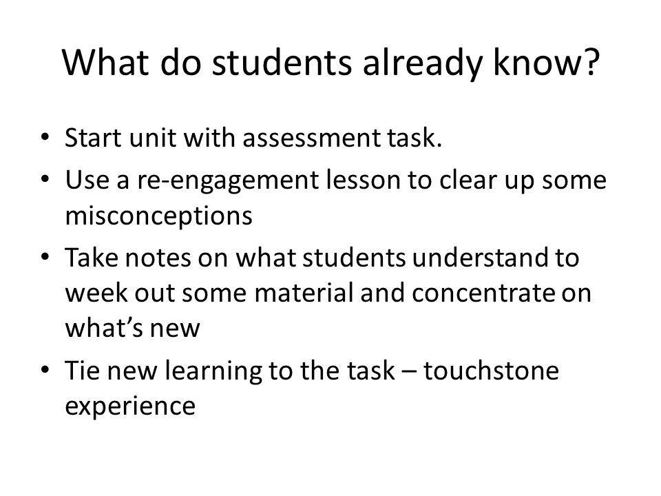 What do students already know. Start unit with assessment task.