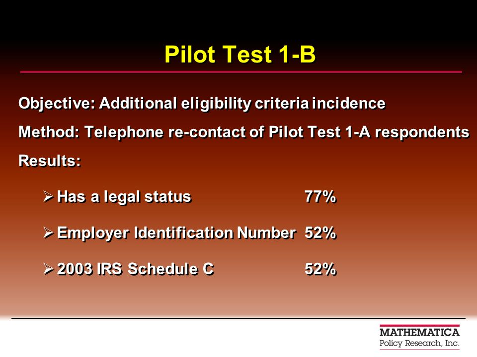 Pilot Test 1-B Objective: Additional eligibility criteria incidence Method: Telephone re-contact of Pilot Test 1-A respondents Results: Has a legal st