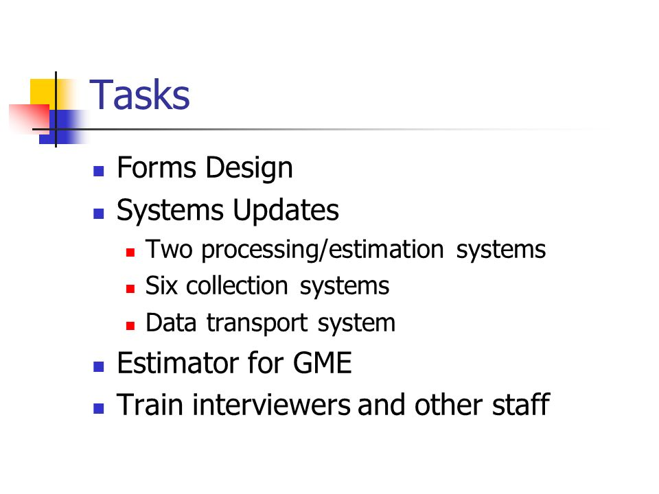 Tasks Forms Design Systems Updates Two processing/estimation systems Six collection systems Data transport system Estimator for GME Train interviewers and other staff