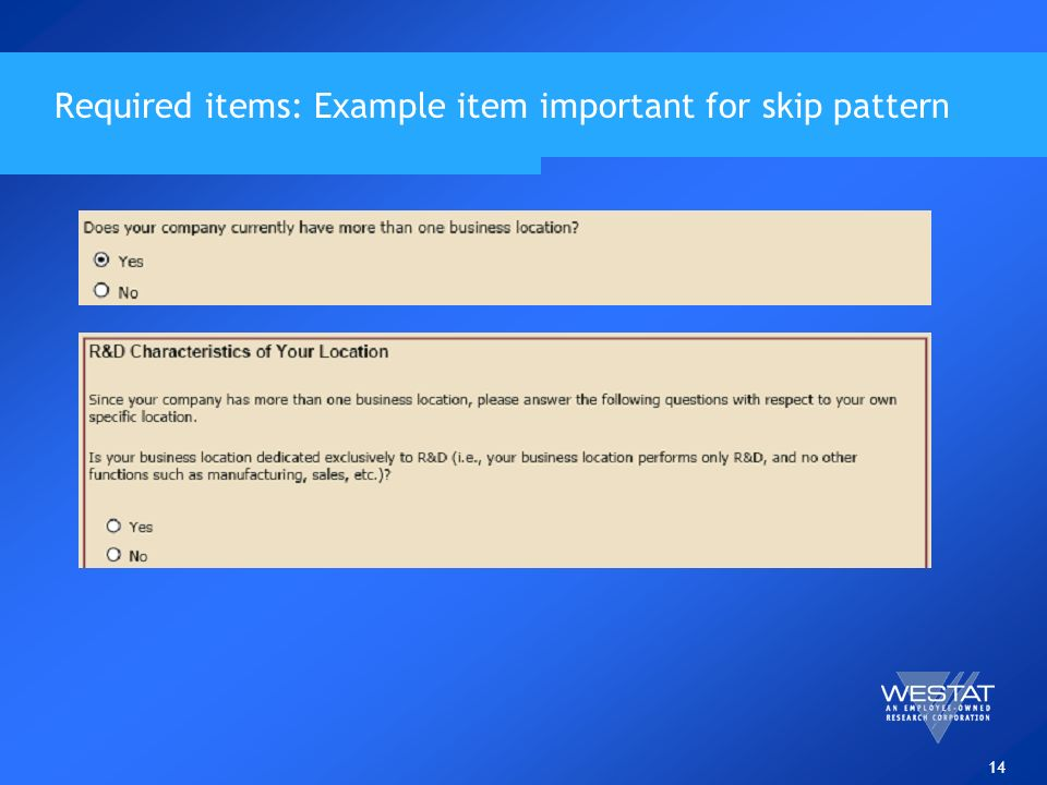 14 Required items: Example item important for skip pattern