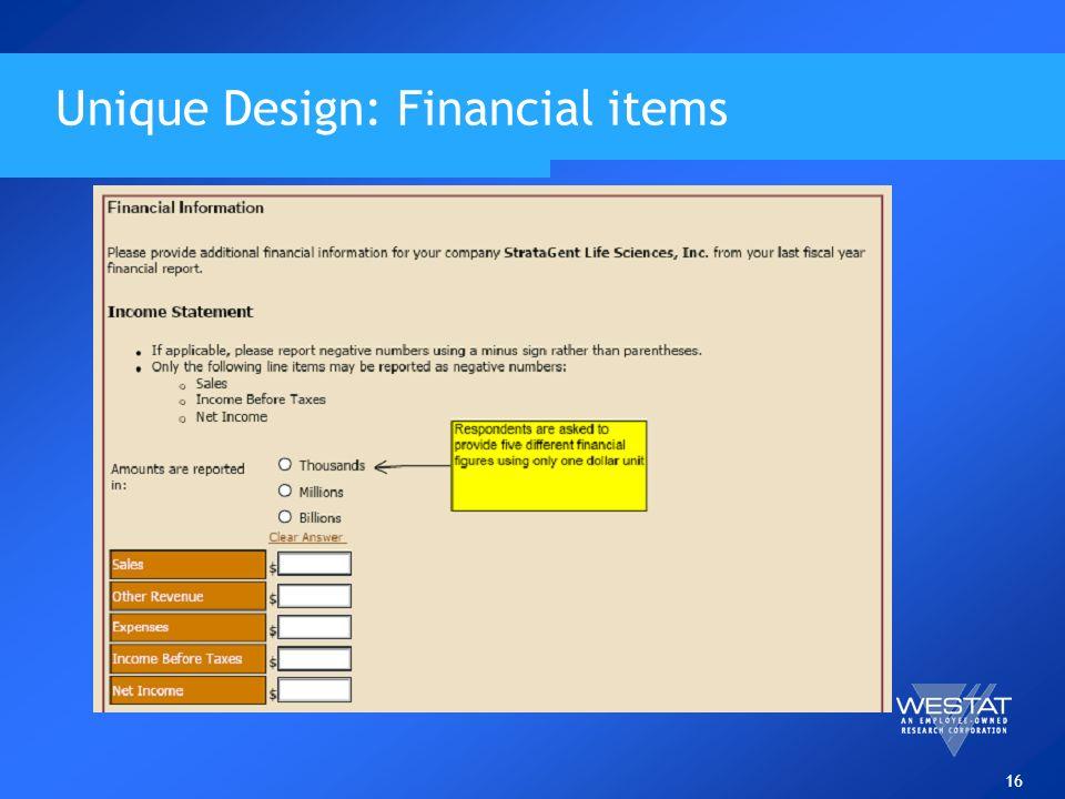16 Unique Design: Financial items