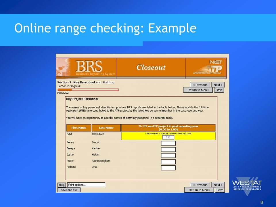 8 Online range checking: Example