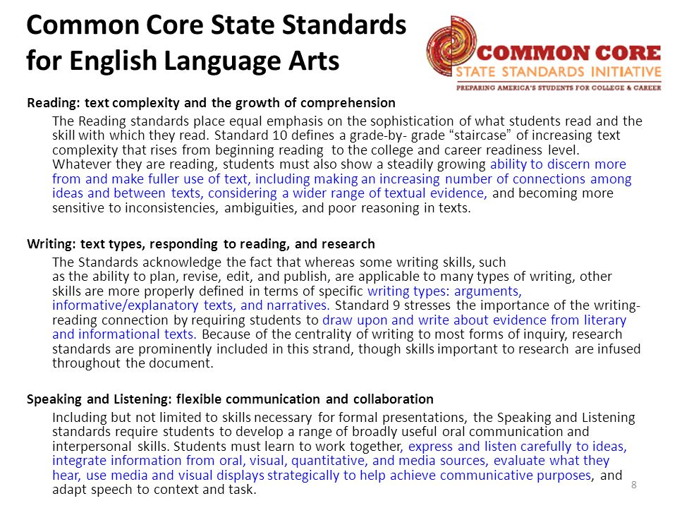 Reading: text complexity and the growth of comprehension The Reading standards place equal emphasis on the sophistication of what students read and the skill with which they read.