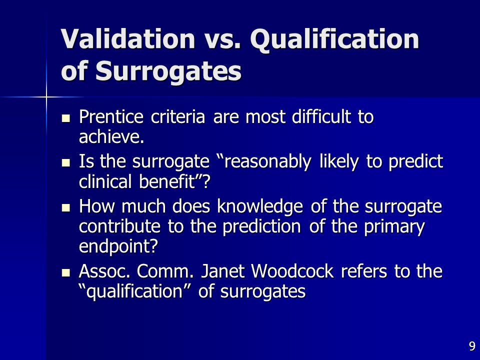 9 Validation vs. Qualification of Surrogates Prentice criteria are most difficult to achieve.