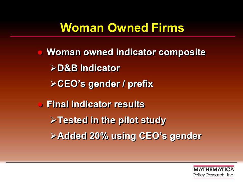 Woman Owned Firms Woman owned indicator composite D&B Indicator CEOs gender / prefix Final indicator results Tested in the pilot study Added 20% using CEOs gender Woman owned indicator composite D&B Indicator CEOs gender / prefix Final indicator results Tested in the pilot study Added 20% using CEOs gender