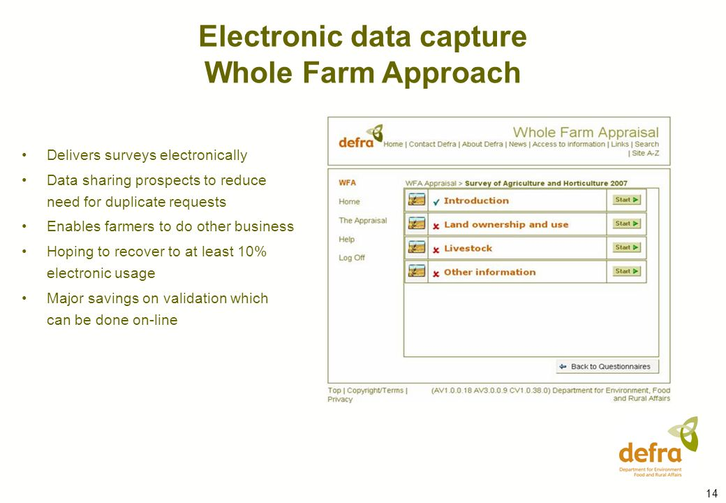14 Delivers surveys electronically Data sharing prospects to reduce need for duplicate requests Enables farmers to do other business Hoping to recover