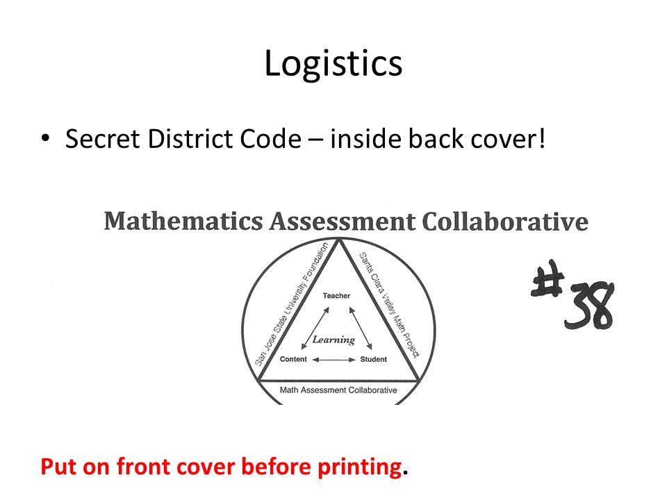 Logistics Secret District Code – inside back cover! Put on front cover before printing.