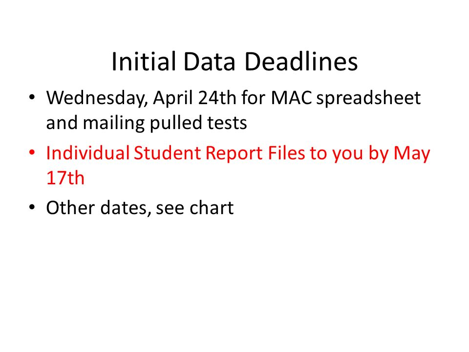 Initial Data Deadlines Wednesday, April 24th for MAC spreadsheet and mailing pulled tests Individual Student Report Files to you by May 17th Other dat