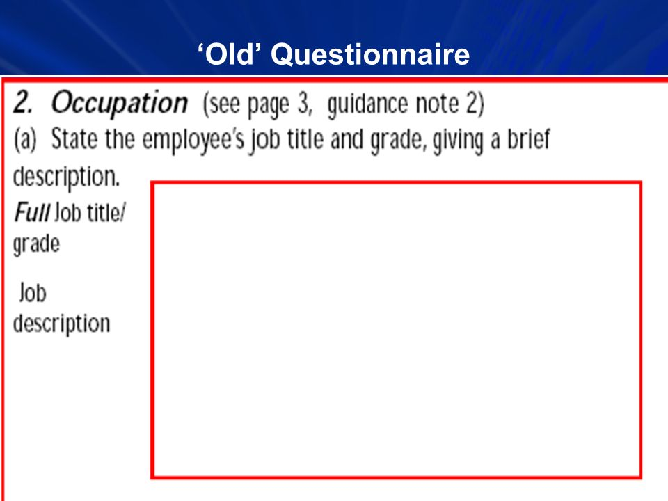 Old Questionnaire
