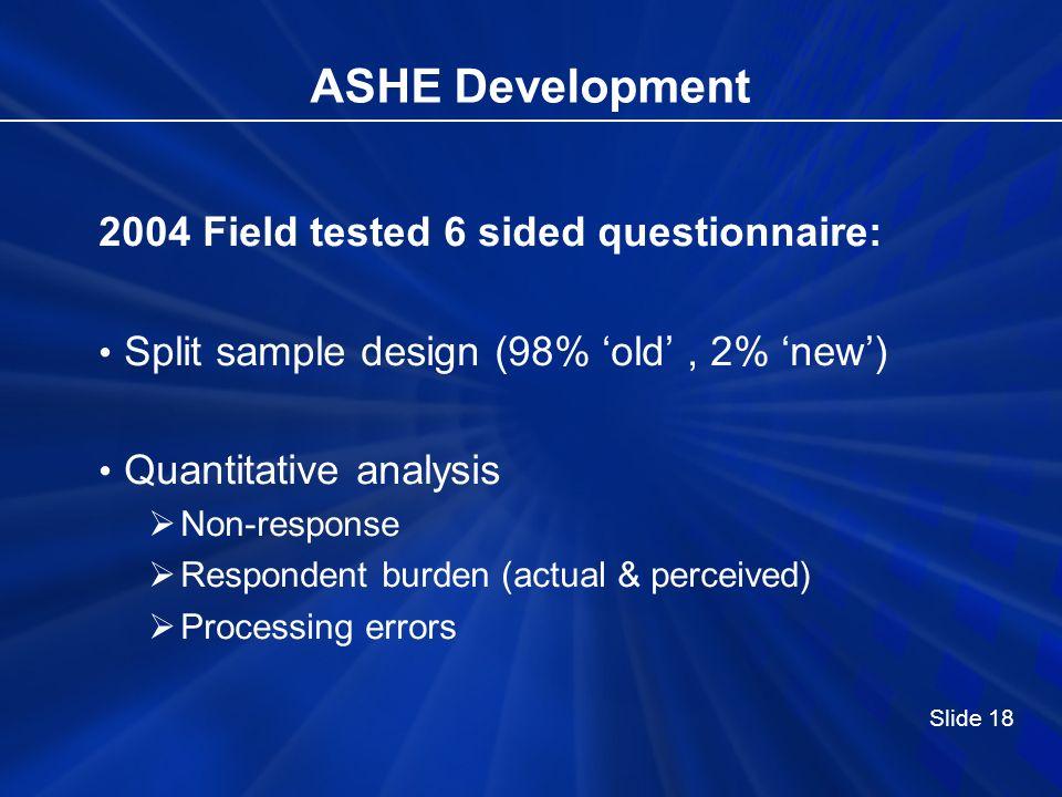 ASHE Development 2004 Field tested 6 sided questionnaire: Split sample design (98% old, 2% new) Quantitative analysis Non-response Respondent burden (