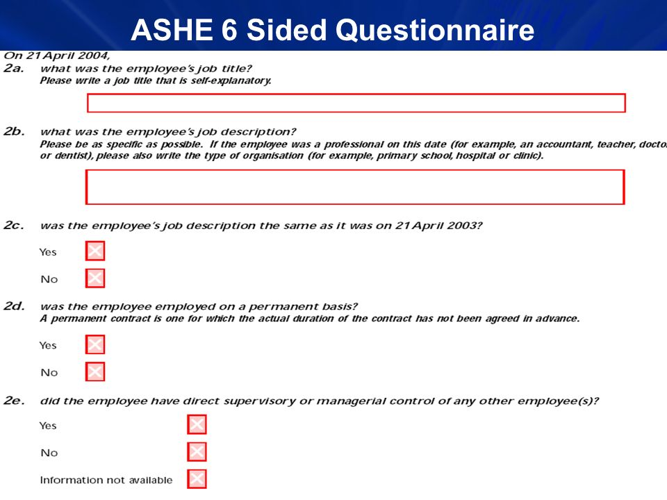 ASHE 6 Sided Questionnaire
