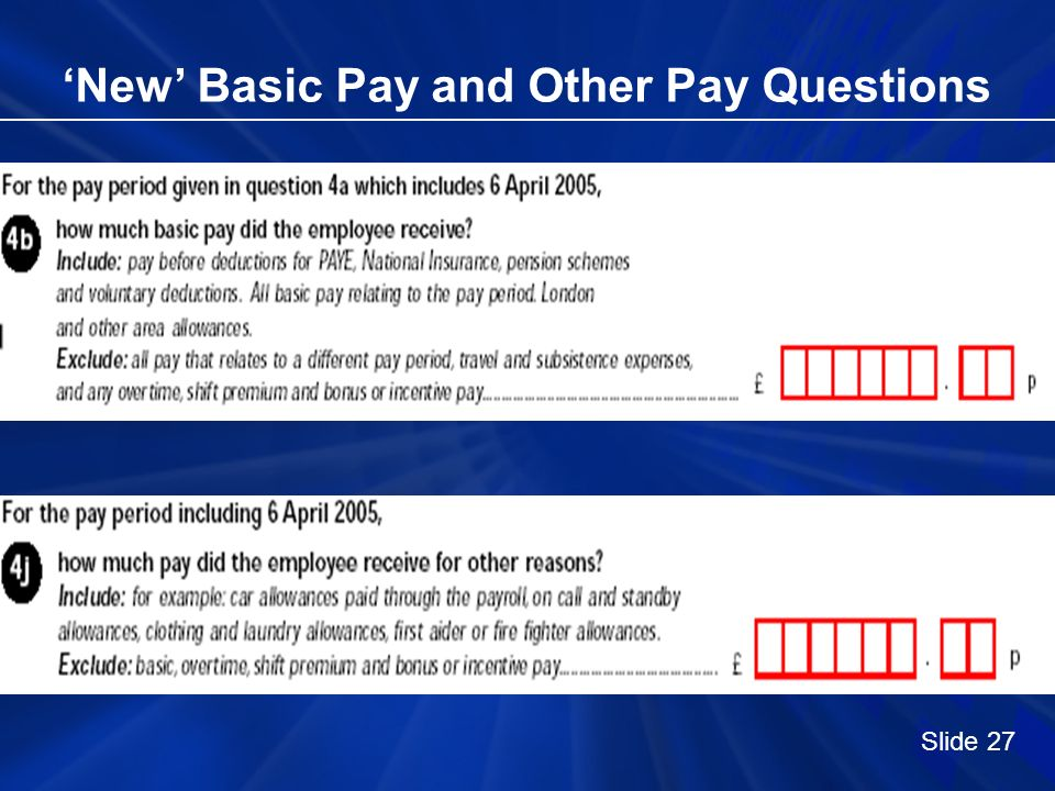 New Basic Pay and Other Pay Questions Slide 27