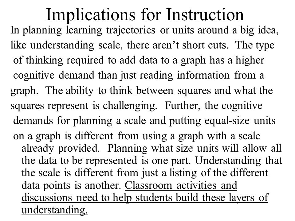 Implications for Instruction In planning learning trajectories or units around a big idea, like understanding scale, there arent short cuts.