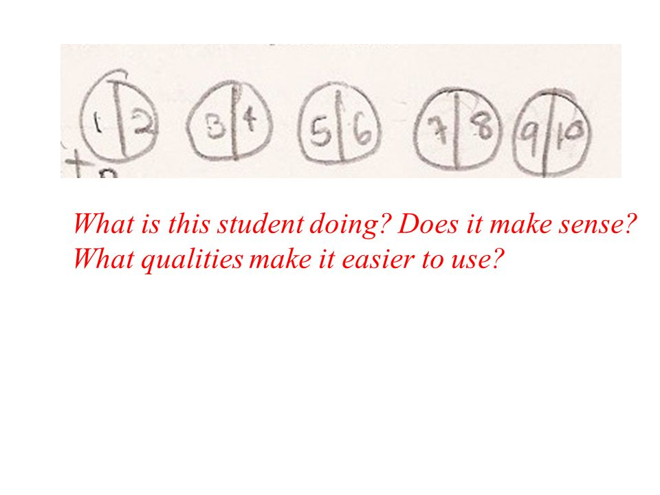 What is this student doing? Does it make sense? What qualities make it easier to use?