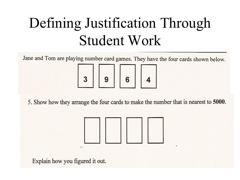 Defining Justification Through Student Work
