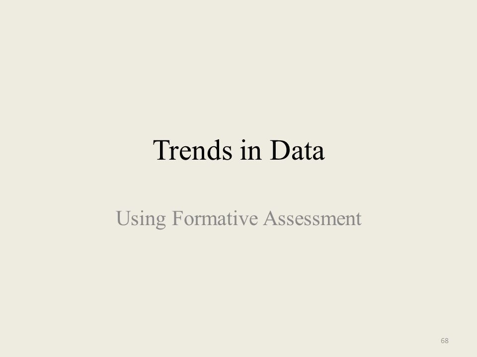 Trends in Data Using Formative Assessment 68