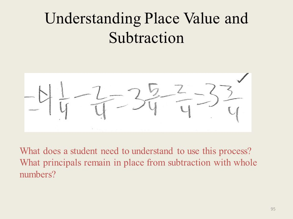 Understanding Place Value and Subtraction What does a student need to understand to use this process.