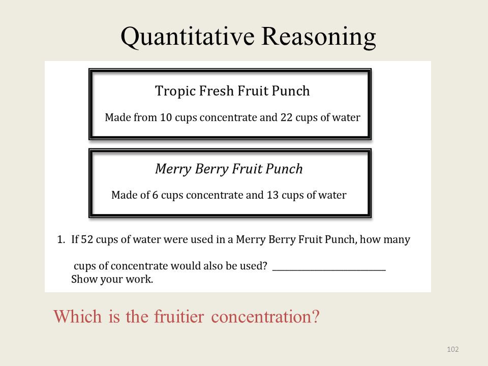 Quantitative Reasoning Which is the fruitier concentration? 102