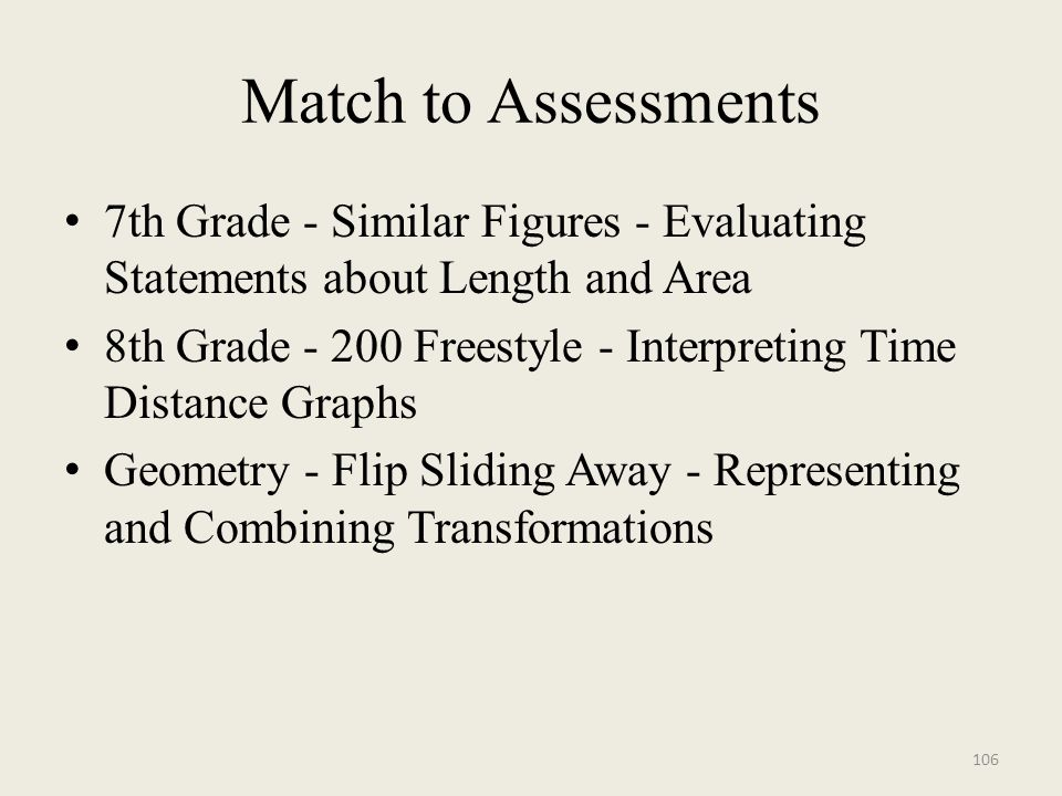 Match to Assessments 7th Grade - Similar Figures - Evaluating Statements about Length and Area 8th Grade - 200 Freestyle - Interpreting Time Distance Graphs Geometry - Flip Sliding Away - Representing and Combining Transformations 106