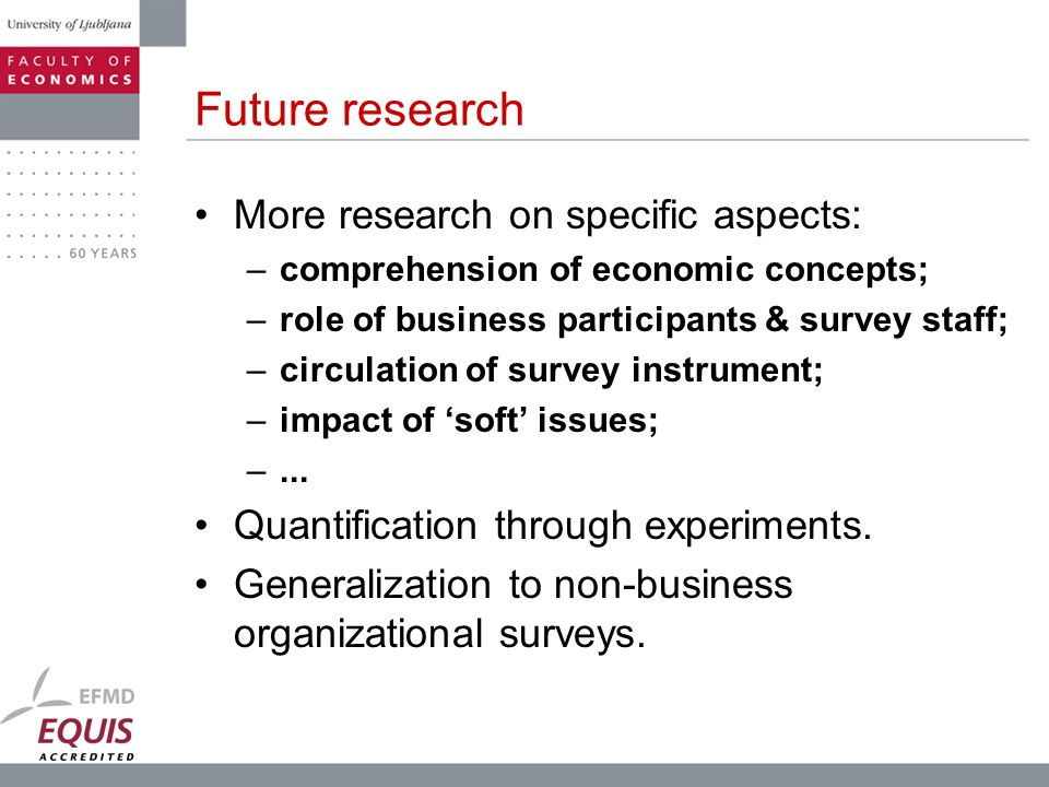 Future research More research on specific aspects: –comprehension of economic concepts; –role of business participants & survey staff; –circulation of