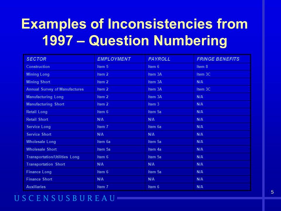 5 Examples of Inconsistencies from 1997 – Question Numbering SECTOREMPLOYMENTPAYROLLFRINGE BENEFITS ConstructionItem 5Item 6Item 8 Mining LongItem 2It