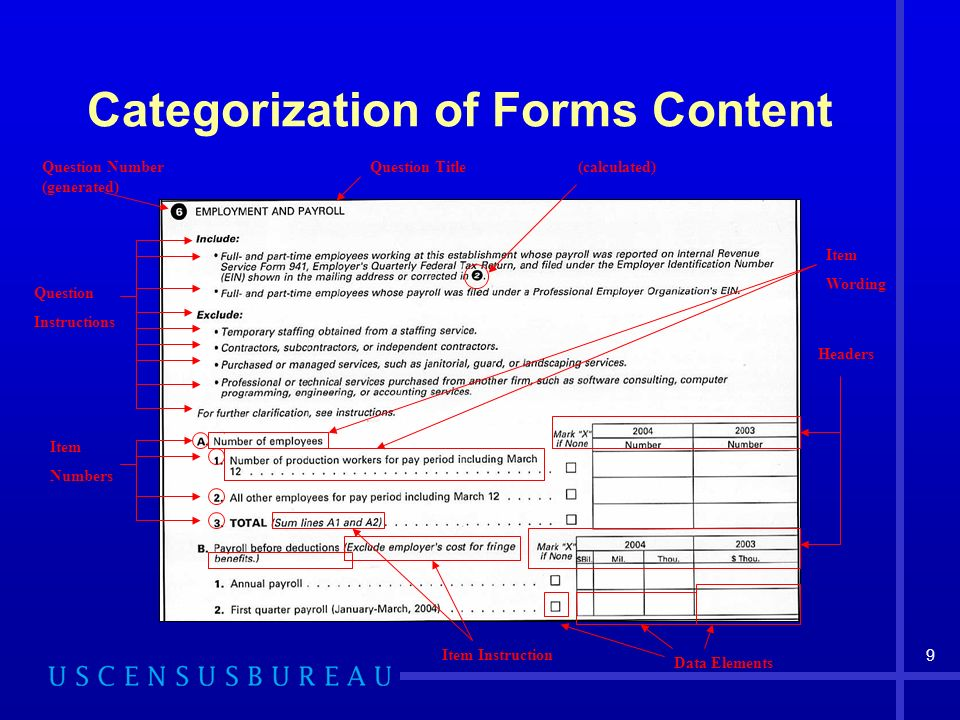 9 Categorization of Forms Content Question Number (generated) Question Title Question Instructions Item Numbers Headers (calculated) Item Wording Item