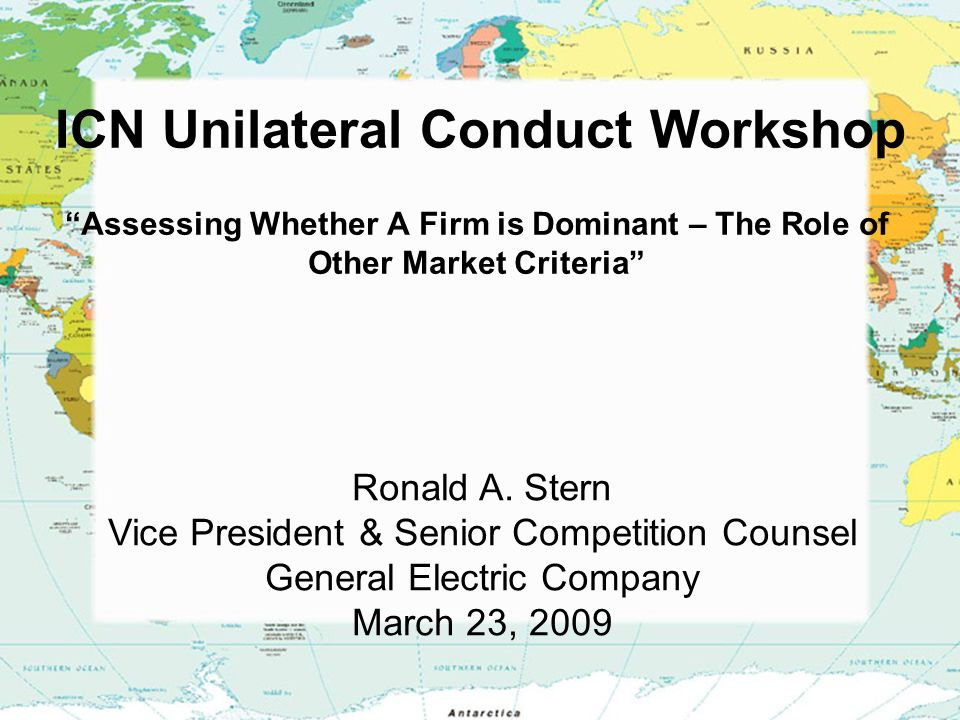 ICN Unilateral Conduct Workshop Assessing Whether A Firm is Dominant – The Role of Other Market Criteria Ronald A.