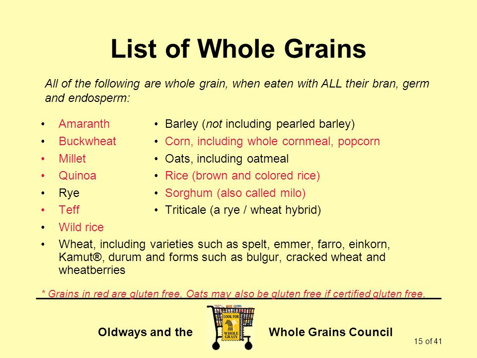 Oldways and the Whole Grains Council 15 of 41 List of Whole Grains Amaranth Barley (not including pearled barley) Buckwheat Corn, including whole cornmeal, popcorn Millet Oats, including oatmeal Quinoa Rice (brown and colored rice) Rye Sorghum (also called milo) Teff Triticale (a rye / wheat hybrid) Wild rice Wheat, including varieties such as spelt, emmer, farro, einkorn, Kamut®, durum and forms such as bulgur, cracked wheat and wheatberries * Grains in red are gluten free.