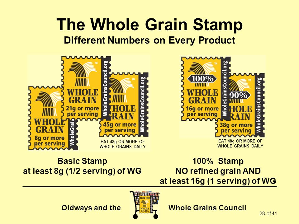 Oldways and the Whole Grains Council 28 of 41 The Whole Grain Stamp Different Numbers on Every Product Basic Stamp at least 8g (1/2 serving) of WG 100% Stamp NO refined grain AND at least 16g (1 serving) of WG EAT 48g OR MORE OF WHOLE GRAINS DAILY EAT 48g OR MORE OF WHOLE GRAINS DAILY