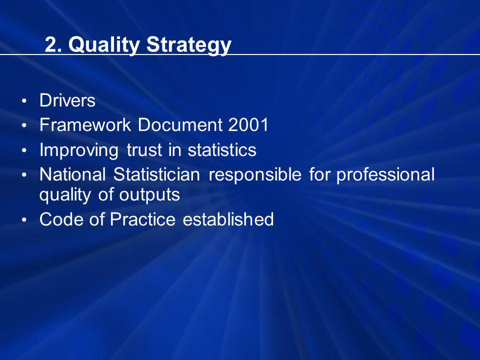 2. Quality Strategy Drivers Framework Document 2001 Improving trust in statistics National Statistician responsible for professional quality of output