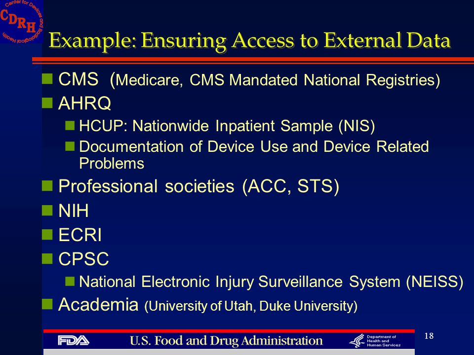 18 Example: Ensuring Access to External Data CMS ( Medicare, CMS Mandated National Registries) AHRQ HCUP: Nationwide Inpatient Sample (NIS) Documentat