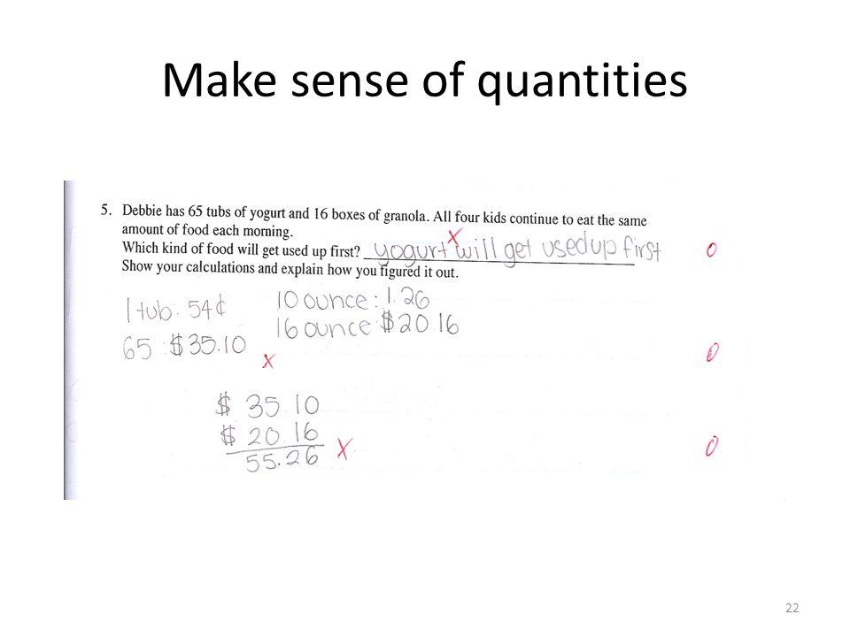 Make sense of quantities 22