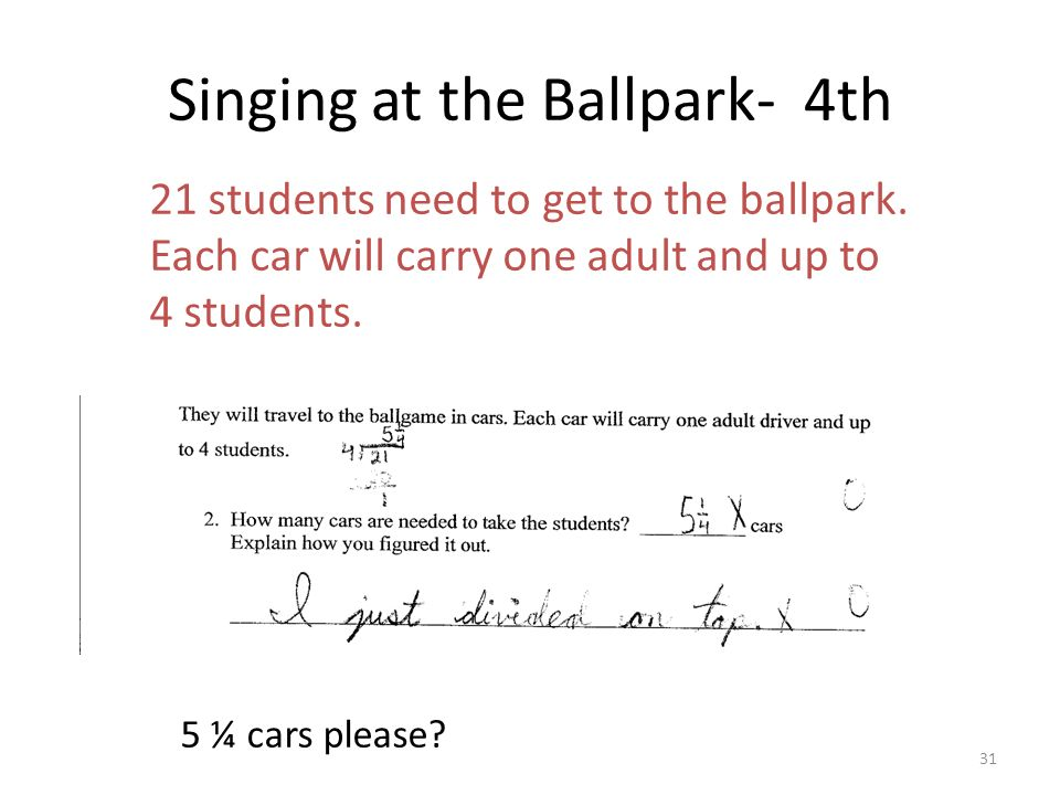 Singing at the Ballpark- 4th 21 students need to get to the ballpark. Each car will carry one adult and up to 4 students. 5 ¼ cars please? 31