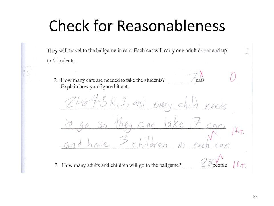 Check for Reasonableness 33
