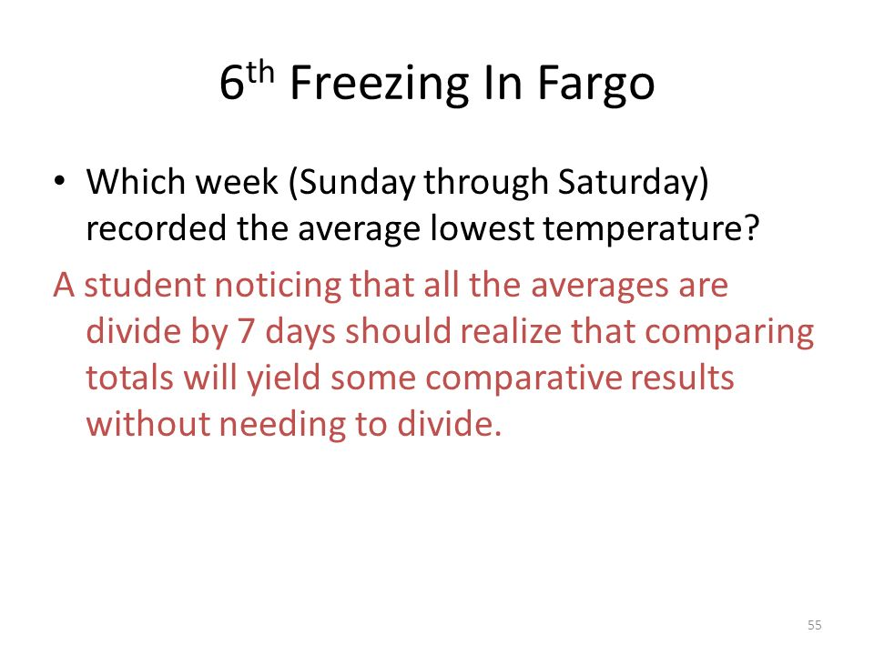 6 th Freezing In Fargo Which week (Sunday through Saturday) recorded the average lowest temperature? A student noticing that all the averages are divi