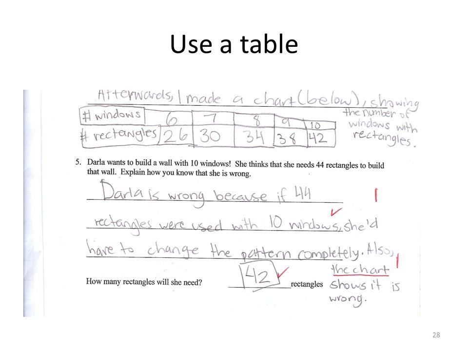 Use a table 28