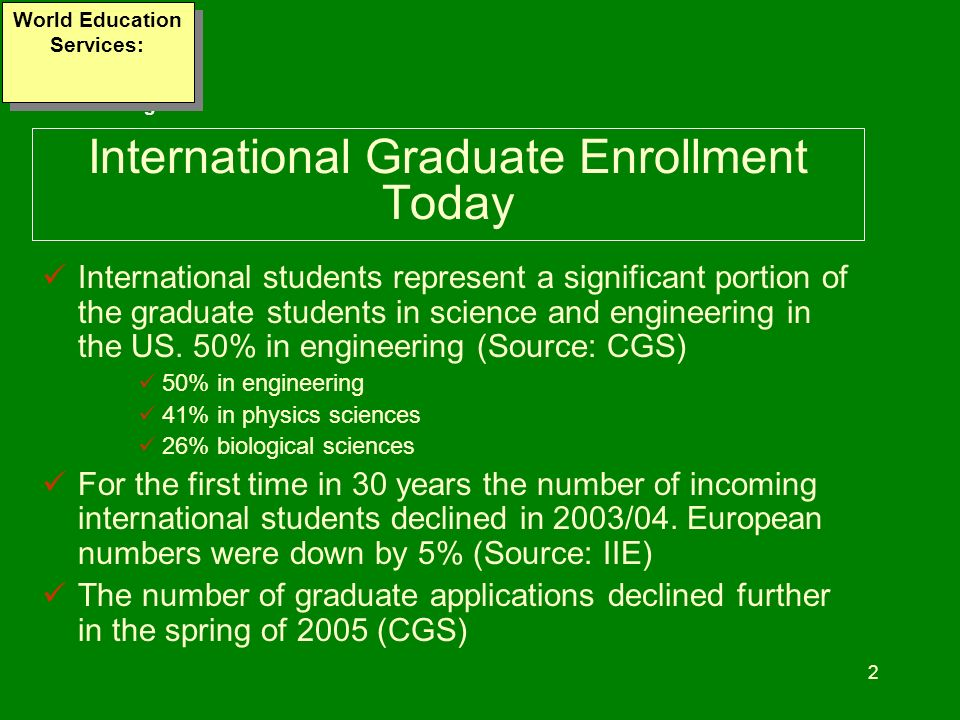 www.wes.org 2 International Graduate Enrollment Today International students represent a significant portion of the graduate students in science and e