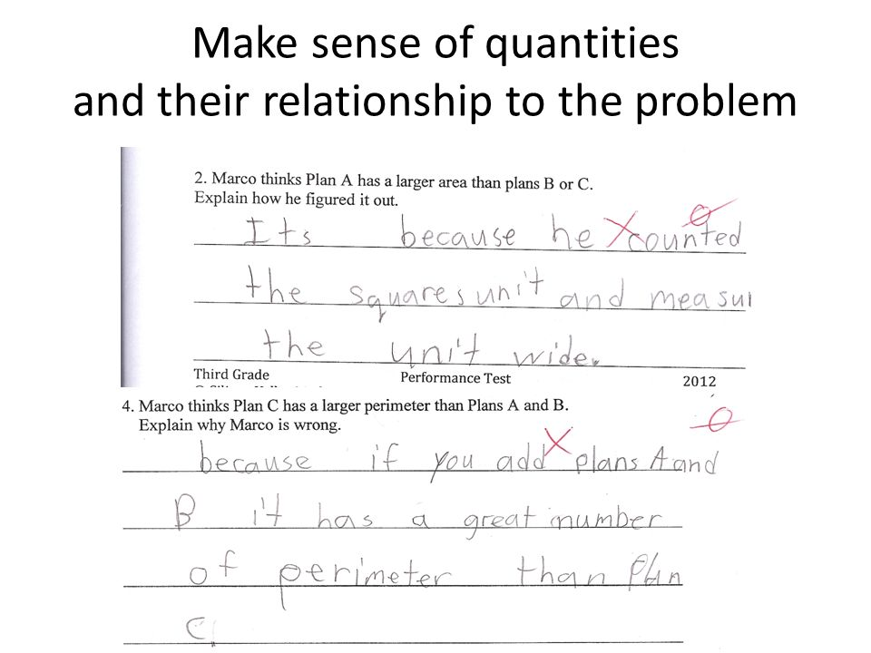 Make sense of quantities and their relationship to the problem