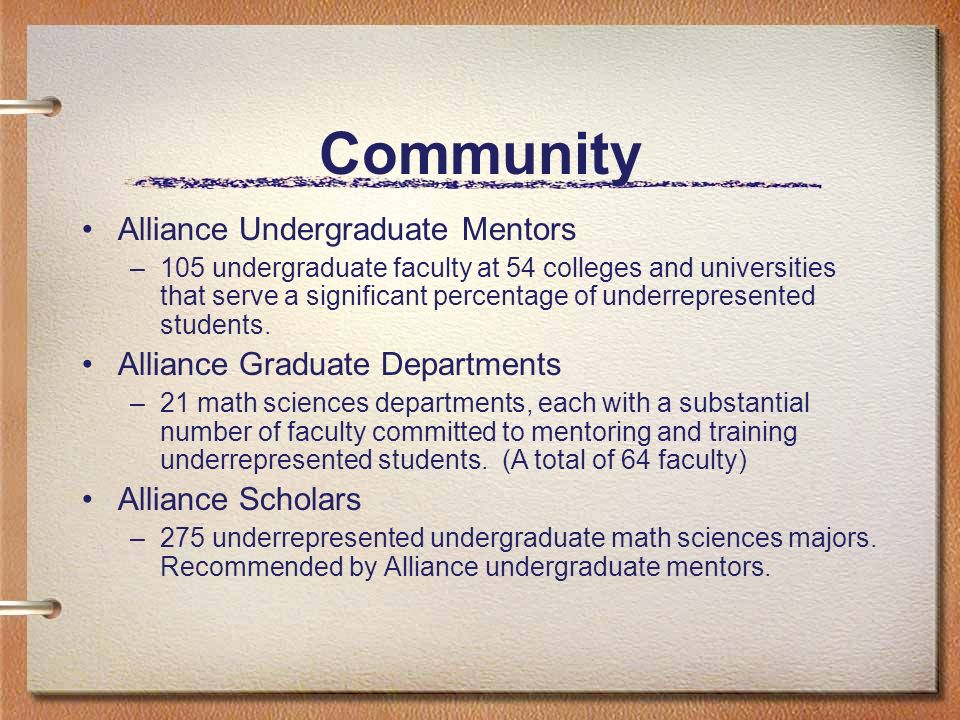 Community Alliance Undergraduate Mentors –105 undergraduate faculty at 54 colleges and universities that serve a significant percentage of underrepresented students.
