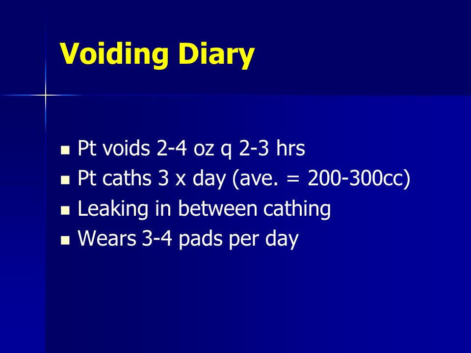 Voiding Diary Pt voids 2-4 oz q 2-3 hrs Pt caths 3 x day (ave. = 200-300cc) Leaking in between cathing Wears 3-4 pads per day