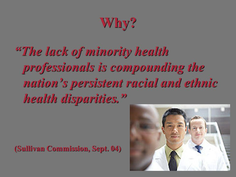 Composition of Selected Health Professions by Race and Ethnicity White (%) Black (%) Hispanic (%) Asian/PI (%) American Native (%) General Population * 65.612.215.44.50.8 MD 73.05.04.017.00.1 DDS 89.01.02.07.00.1 RN 82.09.03.06.00.4 PharmDS 76.06.03.014.00.3 LPN 73.019.04.03.00.8 Data Source: HRSA, US Census 2008 Population Projections *1.5% of the population is of two or more races.