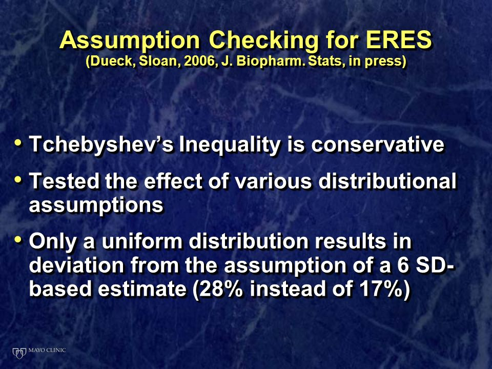 Assumption Checking for ERES (Dueck, Sloan, 2006, J.
