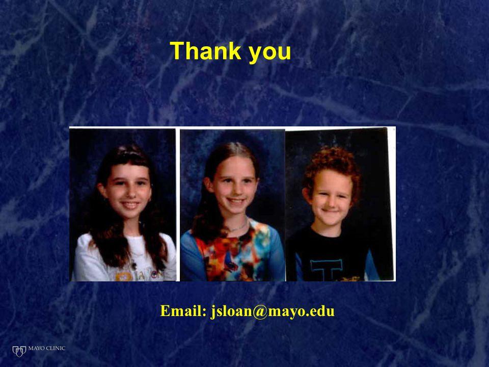 Email: jsloan@mayo.edu Thank you