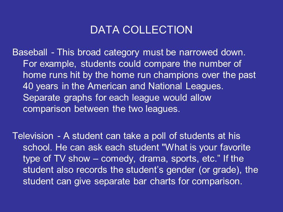 DATA COLLECTION Baseball - This broad category must be narrowed down.