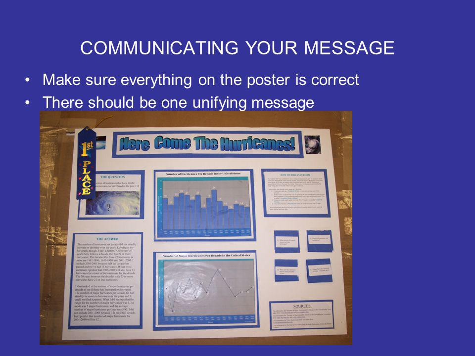 COMMUNICATING YOUR MESSAGE Make sure everything on the poster is correct There should be one unifying message