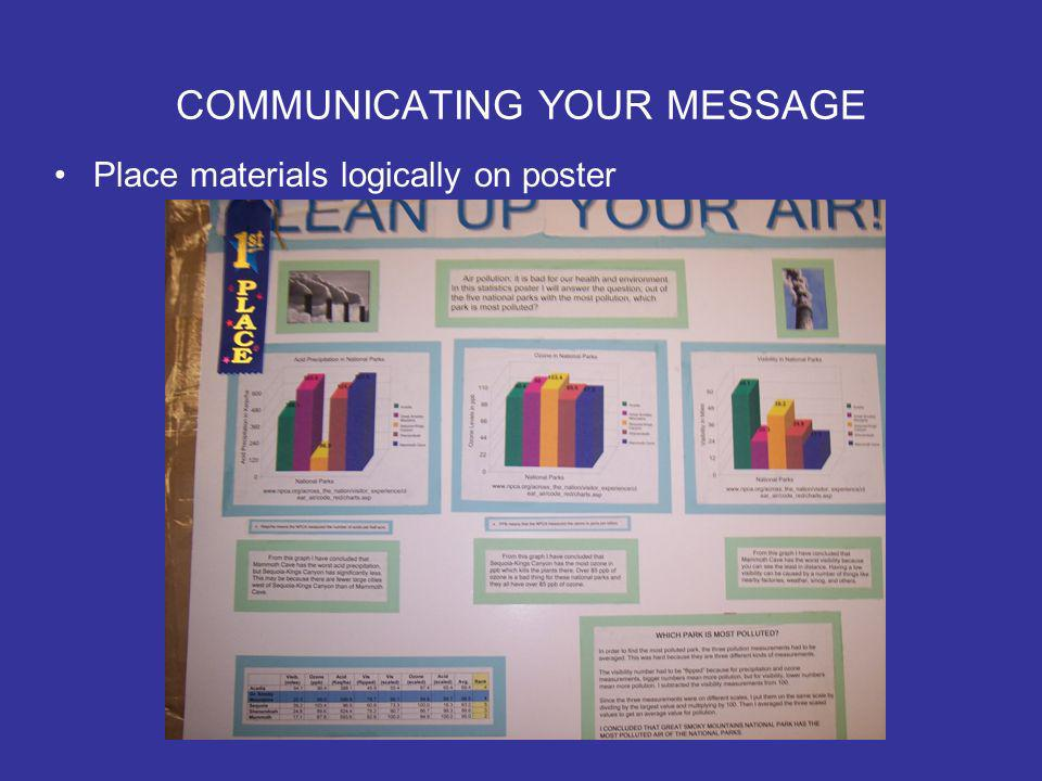 COMMUNICATING YOUR MESSAGE Place materials logically on poster
