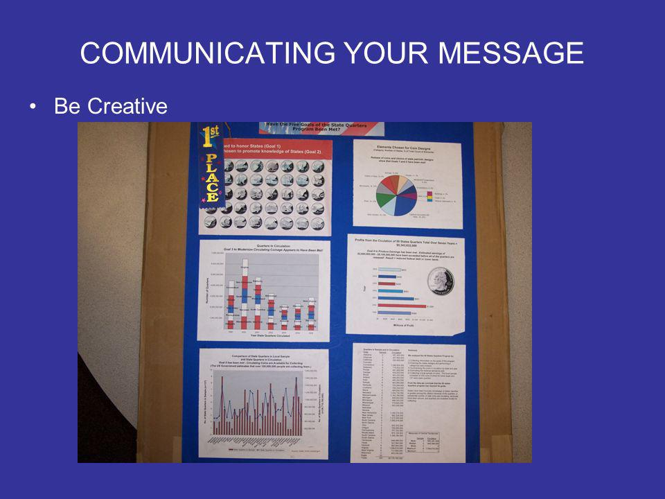COMMUNICATING YOUR MESSAGE Be Creative