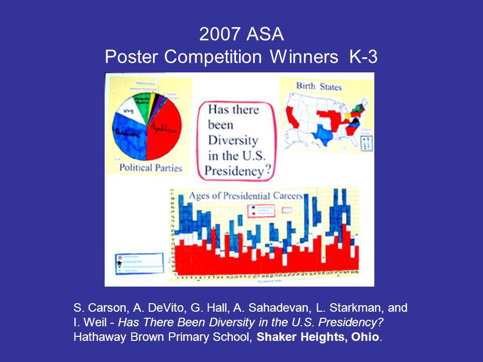 2007 ASA Poster Competition Winners K-3 S. Carson, A.